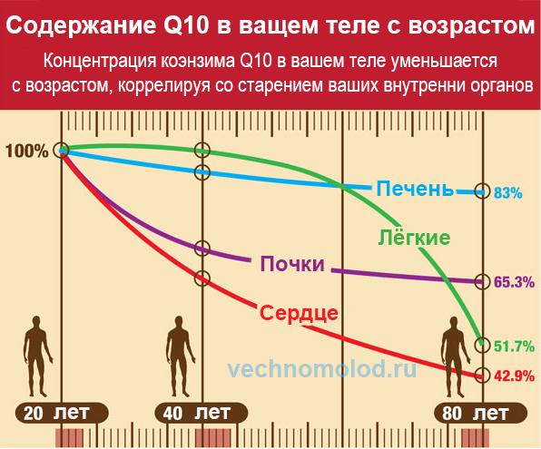 Коэнзим Q10 снижение с возрастом